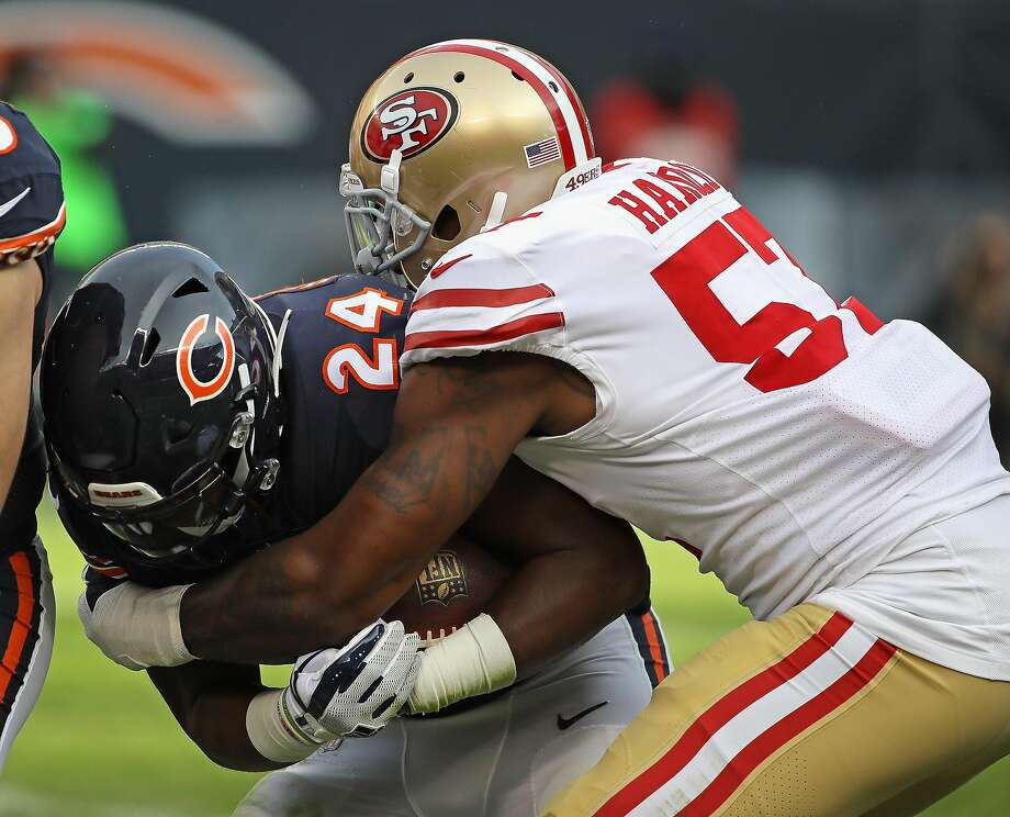 CHICAGO, IL - DECEMBER 03:   Jordan Howard #24 of the Chicago Bears is dropped by Eli Harold #57 of the San Francisco 49ers at Soldier Field on December 3, 2017 in Chicago, Illinois. The 49ers defetaed the Bears 15-14. (Photo by Jonathan Daniel/Getty Images) Photo: Jonathan Daniel, Getty Images
