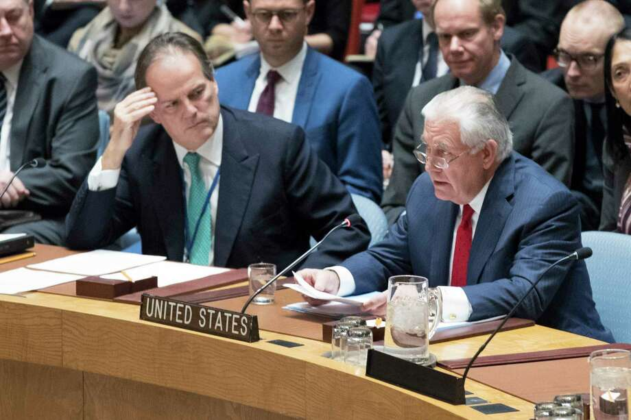 Mark Field British Minister of State for Asia and the Pacific, left, listens as U.S. Secretary of State Rex Tillerson speaks during a high level Security Council meeting on the situation in North Korea, Friday, Dec. 15, 2017 at United Nations headquarters. (AP Photo/Mary Altaffer) Photo: Mary Altaffer, STF / Copyright 2017 The Associated Press. All rights reserved.