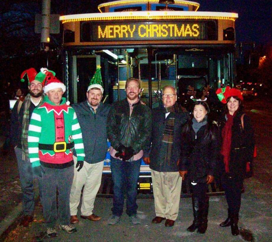 Left to right, Perry Salvagne, Hodge Insurance; Art Stueck, CityCenter Danbury board member; P.J. Prunty, Executive Director CityCenter; Lou Milano, I95 Radio, Mayor Mark Boughton, Angela Wong, CityCenter, and Jacky Smith of The News- Times. Photo: Contributed Photo