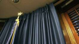The mayor's office spent nearly $18,000 in faux silk curtains that can be opened and closed with a remote control.