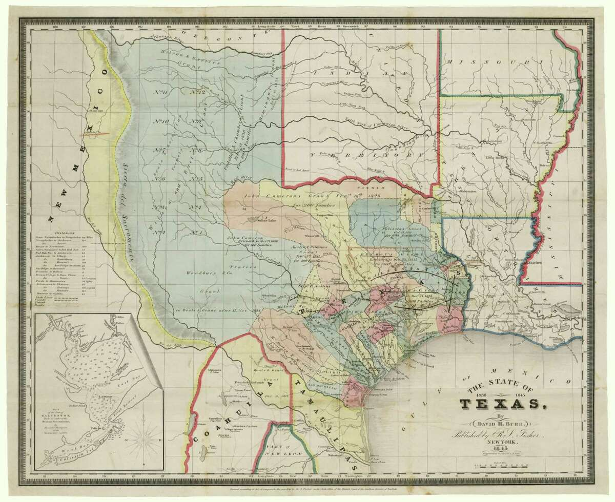 American cartographer David H. Burr's 1845 Texas map is one of the five top-selling maps sold by the Texas General Land Office.