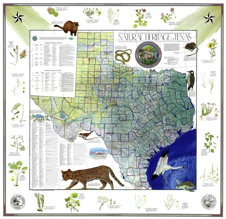 The Natural Heritage Map is among the most popular items sold by the Land Office. Photo: Courtesy Texas General Land Office