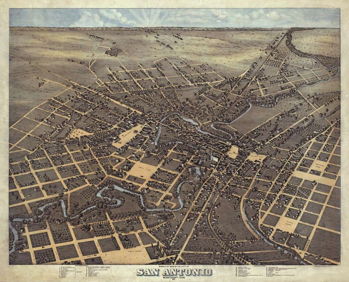 This 1873 bird's eye view of San Antonio is one of the Land Office's most popular maps ordered online from the Alamo City.