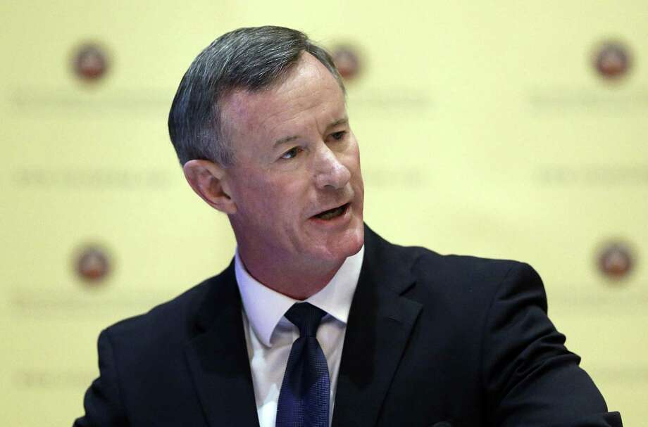University of Texas System Chancellor William McRaven, the former head of U.S. Special Operations Command who directed the raid that killed Osama Bin Laden, plans to leave the school in May, citing non-serious health concerns. Photo: Associated Press File Photo / Copyright 2017 The Associated Press. All rights reserved.