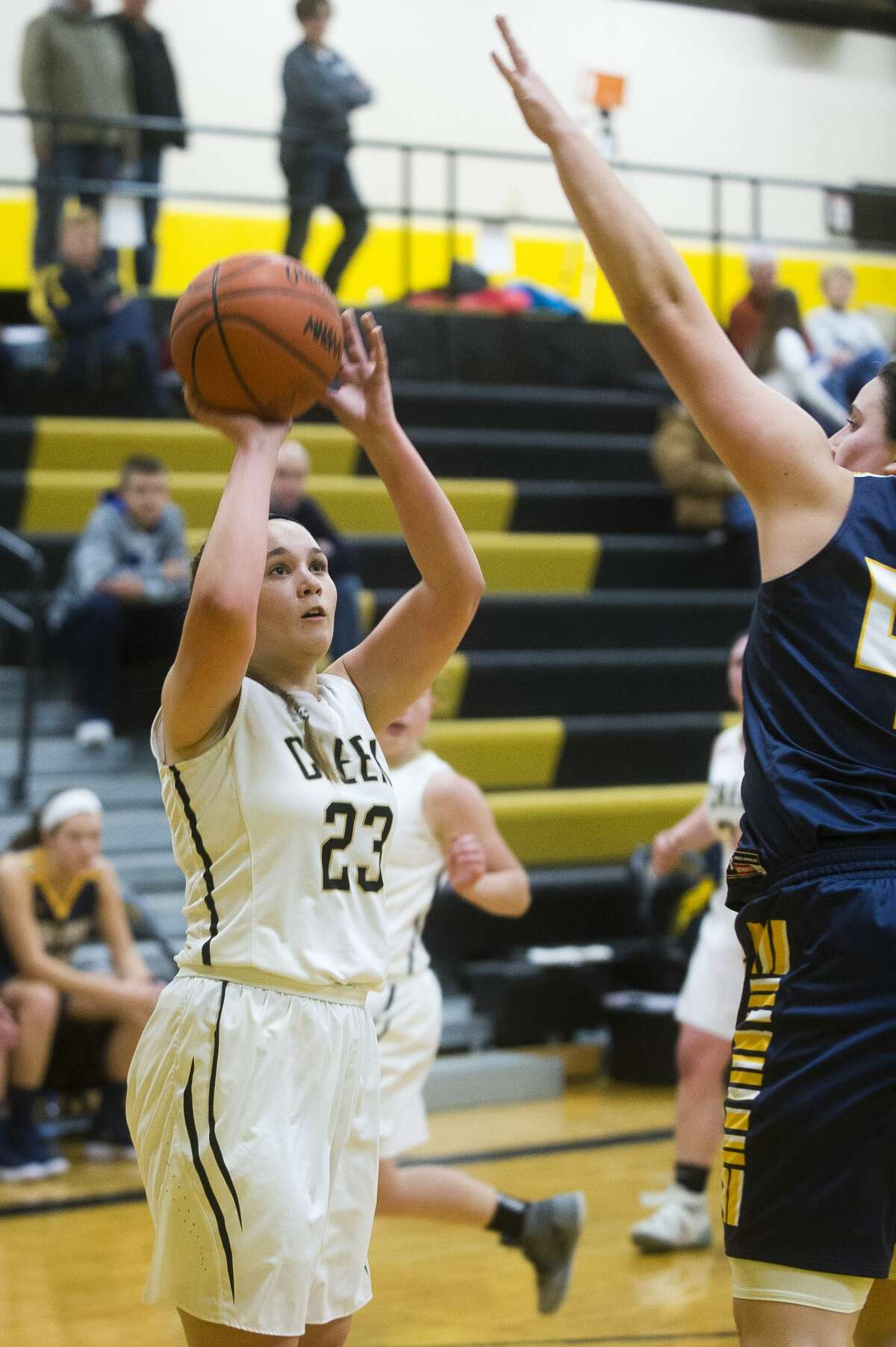 Bullock Creek freshman Erika Cianek takes a shot during their game against Standish-Sterling on Friday, Dec. 15, 2017 at Bullock Creek High School. (Katy Kildee/kkildee@mdn.net)