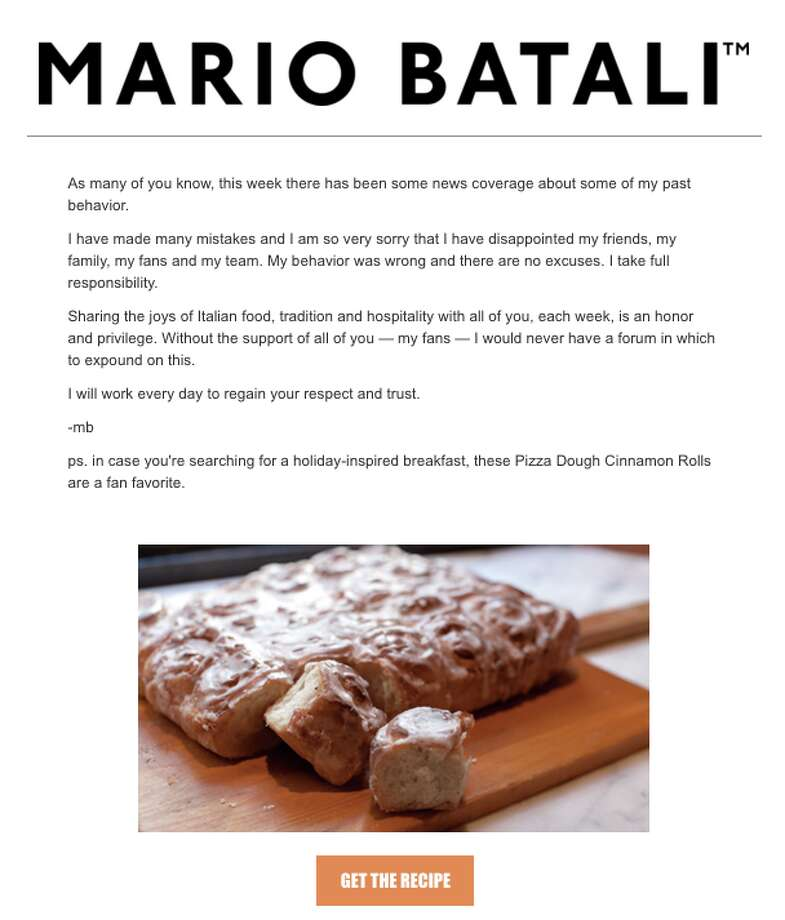 Celebrity chef Mario Batali's weekly newsletter came with an apology – and a cinnamon roll recipe. Photo: Screen Grab