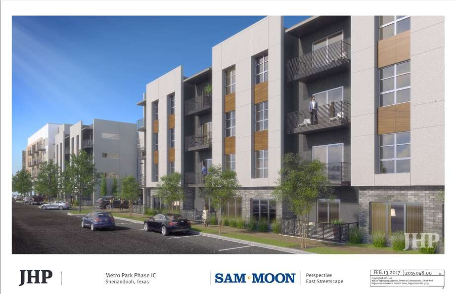 Digital rendering of Shenandoah's new MetroPark development, owned by Sam Moon Group, shoots for a 2020 completion. The multi-family apartment complexes will be completed in phases two and three. Photo: Courtesy Sam Moon Group