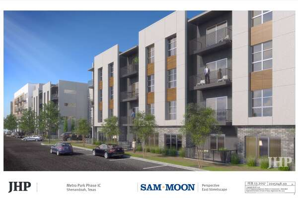 Digital rendering of Shenandoah's new MetroPark development, owned by Sam Moon Group, shoots for a 2020 completion. The multi-family apartment complexes will be completed in phases two and three.