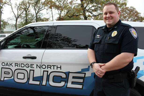 Oak Ridge North Police Officer Jaren Young is pictured on Thursday, Dec. 13, 2017, outside of Oak Ridge North City Hall.