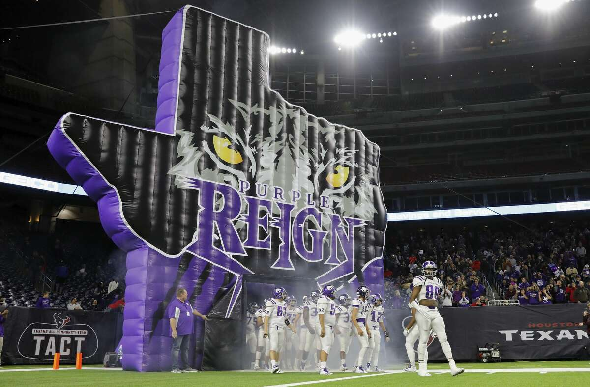 PHOTOS: Manvel vs. Angleton Angleton Wildcats Jesse Herron lll (89) leads the team out of the tunnel before the high school football semifinal playoff playoff game between the Manvel Mavericks and the Angleton Wildcats at NRG Stadium in Houston, TX on Friday, December 15, 2017.