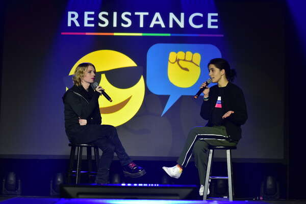 Chelsea Manning and Nadya Tolokonnikova speak at Day for Night at Post HTX in downtown Houston on Friday, December 15, 2017.