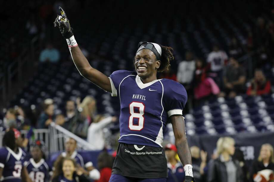 Manvel Mavericks wide receiver Kam Scott (8) celebrates after the high school football semifinal playoff playoff game between the Manvel Mavericks and the Angleton Wildcats at NRG Stadium in Houston, TX on Friday, December 15, 2017. Photo: Tim Warner/For The Chronicle