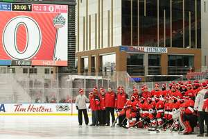 OTTAWA, ON - DECEMBER 15:  Members of the Ottawa Senators pose for a team photo prior to practice at Lansdowne Park on December 15, 2017 in Ottawa, Canada.  (Photo by Jana Chytilova/Getty Images/Freestyle Photo)