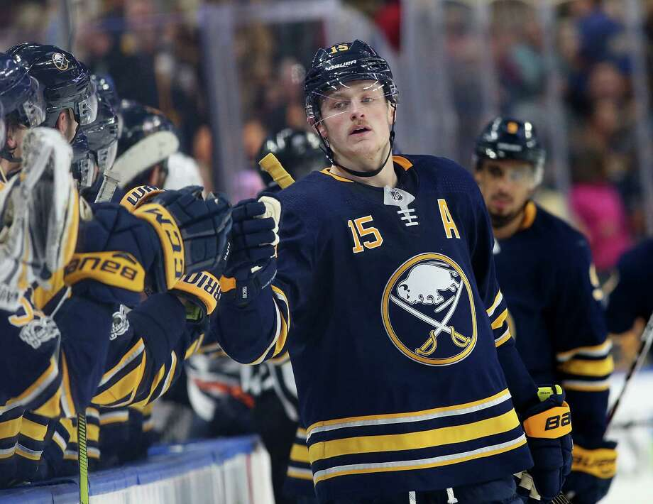 BUFFALO, NY - NOVEMBER 24: Jack Eichel #15 of the Buffalo Sabres celebrates his goal against the Edmonton Oilers during the third period at the KeyBank Center on November 24, 2017 in Buffalo, New York. (Photo by Kevin Hoffman/Getty Images) ORG XMIT: 775040888 Photo: Kevin Hoffman / 2017 Getty Images