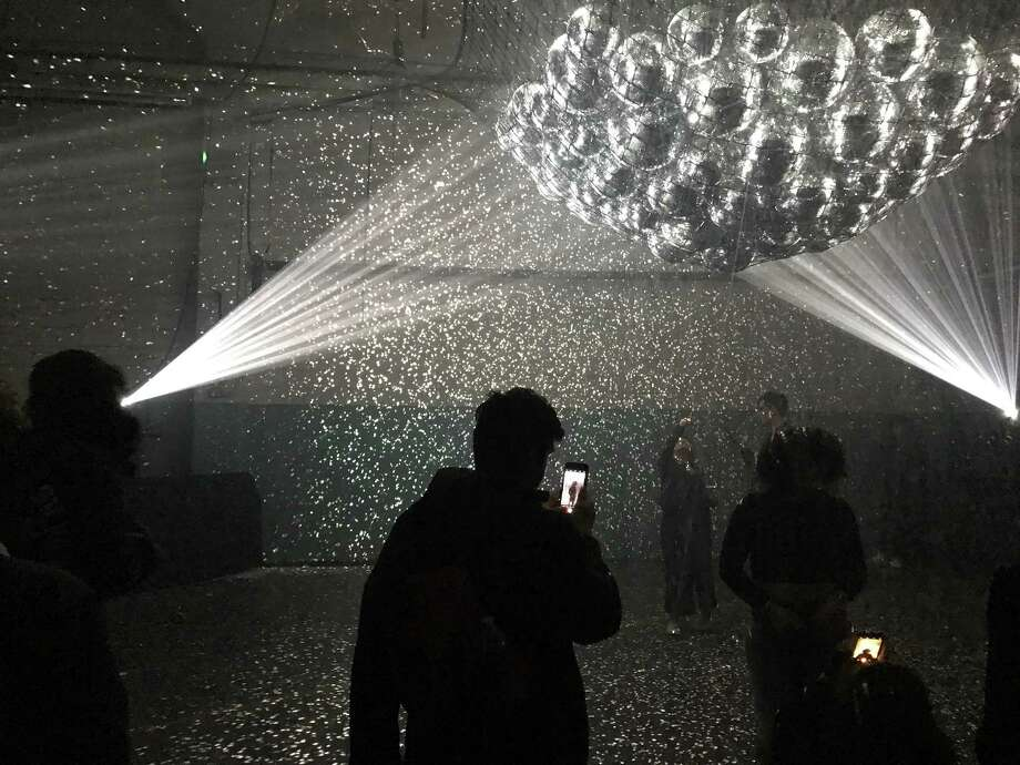 One of the dazzling, immersive light installations at the 2017 Day for Night Festival. Possibly by Kyle McDonald + Jonas Jongejan. Photo: Molly Glentzer, Houston Chronicle