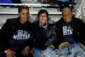 Destiny Turner, Donna Hilstock and Kathy Turner before West Orange-Stark takes on Wimberley in the Class 4A Division 2 state semifinal game at Legacy Stadium in Katy on Friday night.  Photo taken Friday 12/15/17 Ryan Pelham/The Enterprise