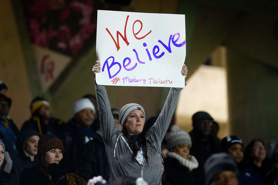 West Orange-Stark fans cheer for the Mustangs against Wimberley in the Class 4A Division 2 state semifinal game at Legacy Stadium in Katy on Friday night.  Photo taken Friday 12/15/17 Ryan Pelham/The Enterprise Photo: Ryan Pelham / ©2017 The Beaumont Enterprise/Ryan Pelham