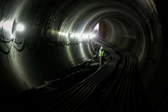 John Funghi, of the SFMTA gives a tour of the construction at the central subway in the Moscone station in San Francisco, Calif., on Wednesday, Sept. 13, 2017.