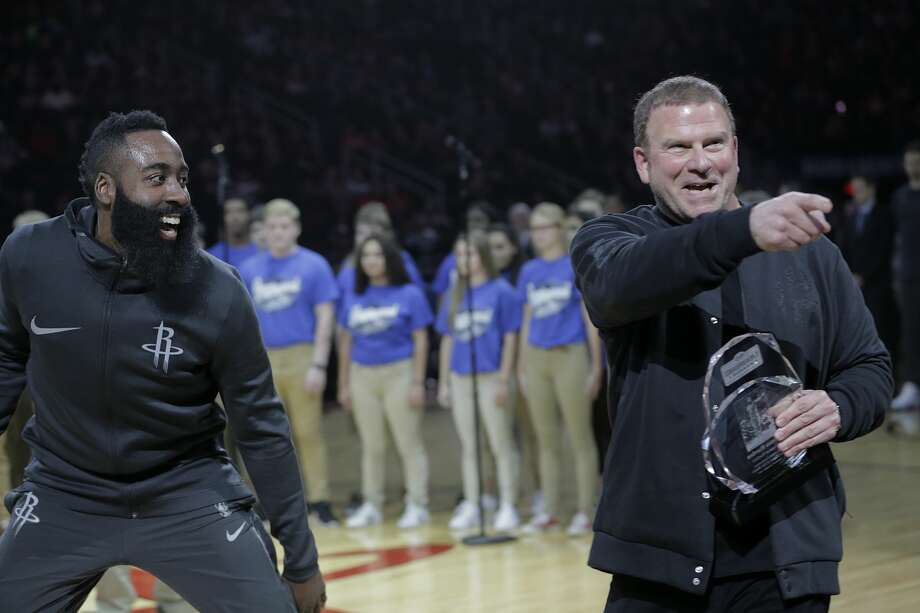 Houston Rockets owner Tilman Fertitta and  guard James Harden (13) joke around after an award presentation before the Houston Rockets and San Antonio Spurs game at the Toyota Center on Friday, Dec. 15, 2017, in Houston. ( Elizabeth Conley / Houston Chronicle ) Photo: Elizabeth Conley/Houston Chronicle