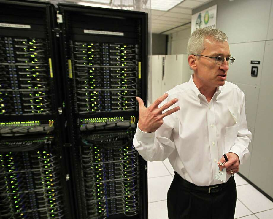 Keith Gray of BP gave a tour of the company's supercomputer in 2012.  Photo: Karen Warren, Staff / © 2012  Houston Chronicle