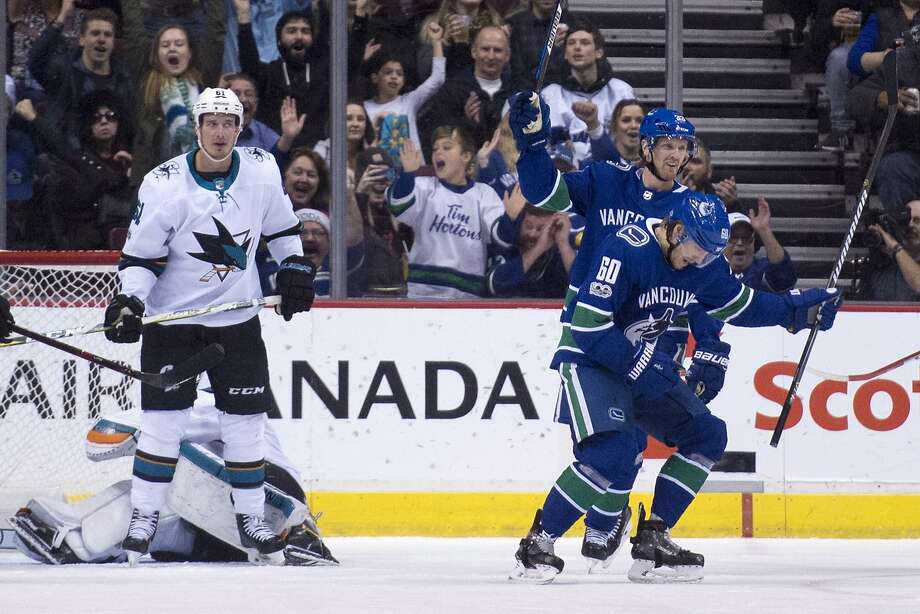 Canucks center Markus Granlund (60) scored twice in the victory over the Sharks, snapping a streak of 11 straights wins at Rogers Arena for San Jose. Photo: Jonathan Hayward, Associated Press