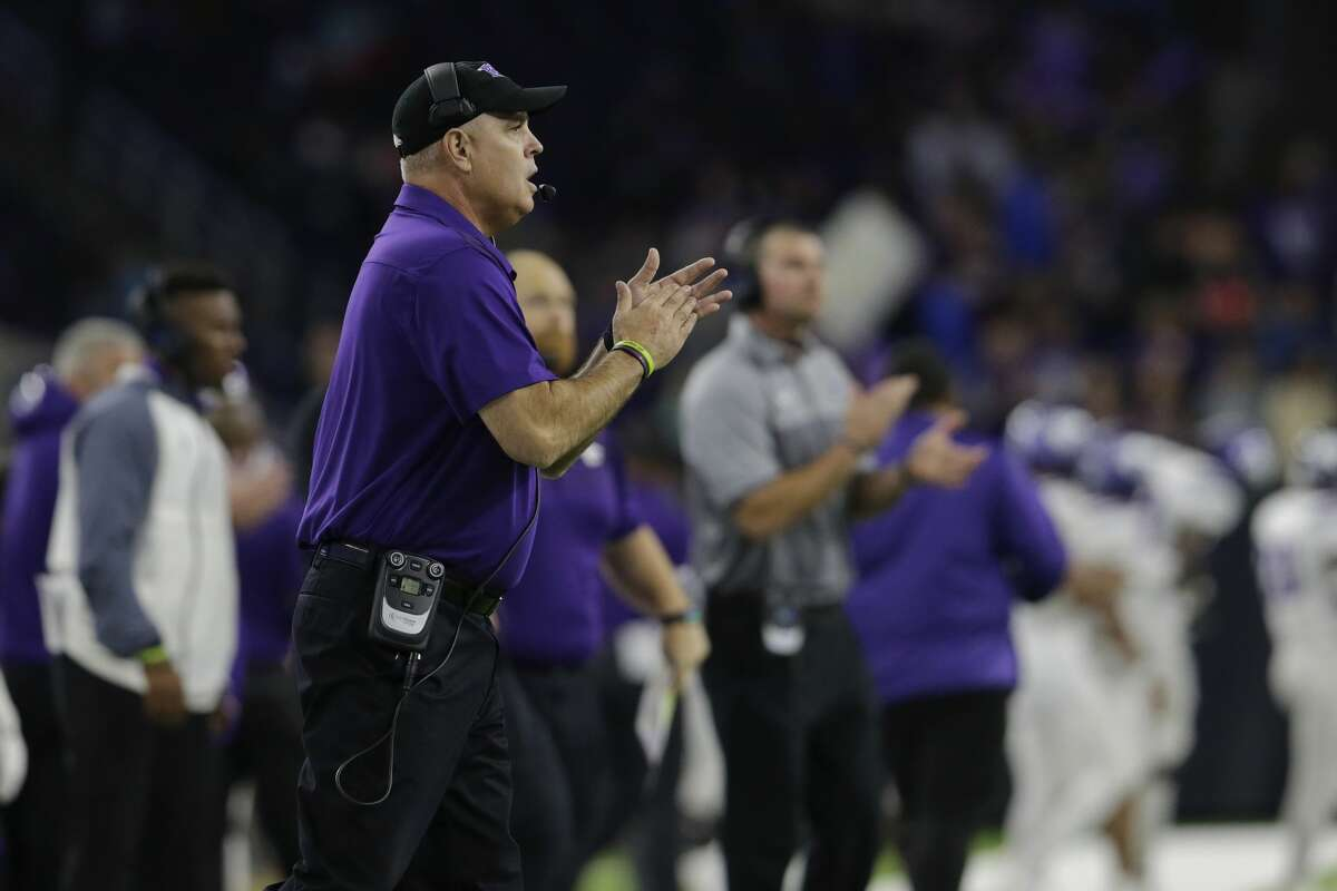 Angleton Wildcats head coach Ryan Roark reacts on the sideline in the fourth quarter during the high school football semifinal playoff playoff game between the Manvel Mavericks and the Angleton Wildcats at NRG Stadium in Houston, TX on Friday, December 15, 2017.