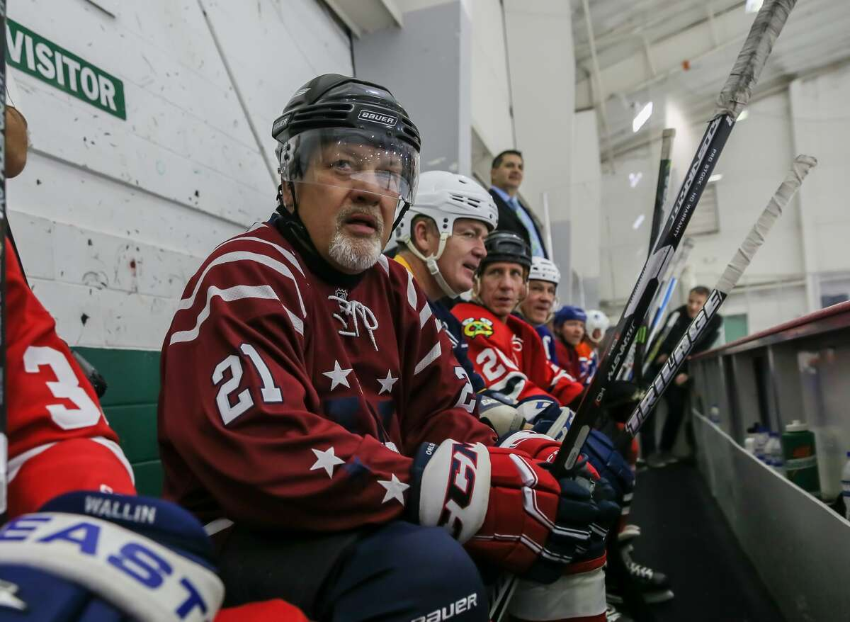 December 2, 2017: Former Washington Capitals Dennis Maruk and fellow players sit in the players' box during the NHL Alumni Charity Game for Hurricane Harvey Relief event at the Willowbrook Aeorodome in Houston, Texas. (Leslie Plaza Johnson/Freelance