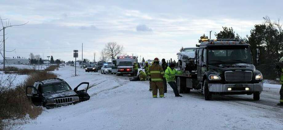Police and EMS were called to the scene of an accident on Van Dyke Road just north of Rapson Road around 3:30 p.m. Friday. No other information was available. The Bad Axe Fire Department, Huron County Sheriff's Office and Michigan State Police were assisting at the scene. (Chip Burch/Huron Daily Tribune)