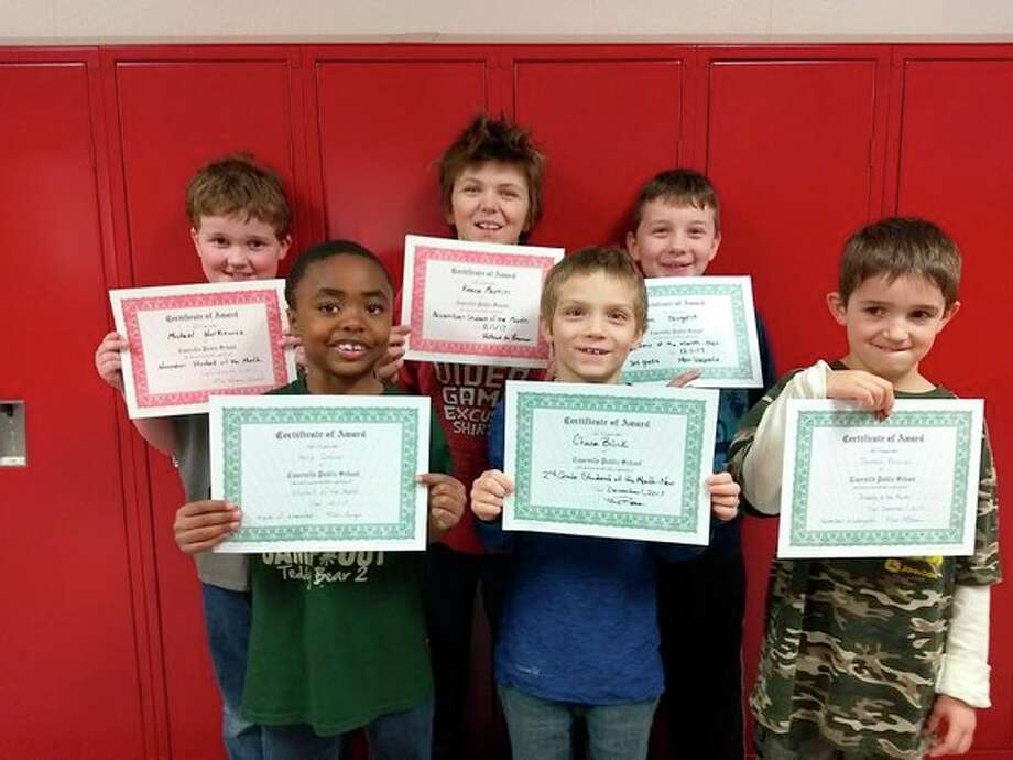 (ABOVE) Henry Corrion, 2nd grade; Chase Bilicki, 2nd grade; Trenton Forman,kindergarten; Michael Norkiewicz, 5th grade; Reese Martin, 4th grade; and Ben Nugent, 3rd grade. (Submitted Photo) (BELOW) Terry Jimpkoski, 11th grade; Chentel Hill, 10th grade; Thomas Marks, 9th grade; Nicole Dufty, 8th grade; John Marks, 7th grade; Elizabeth Gibbard, 6th grade. (Submitted Photo)
