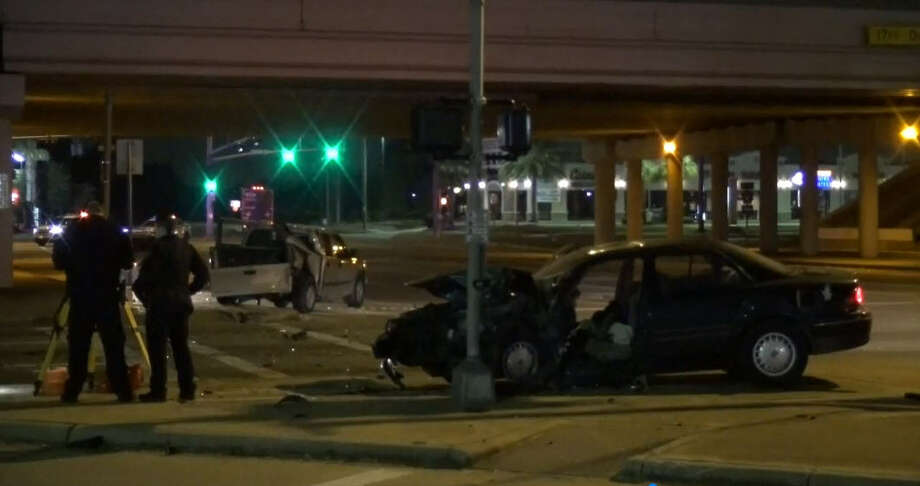 A driver died early Saturday morning after striking several cars waiting at a red light on the Beltway 8 service road in northwest Houston, according to the Harris County Sheriff's Office. The crash occurred around 1:45 a.m. at the service road intersection of Beltway 8 and Gessner Road, according to HSCO Deputy Troyer. Photo: Metro Video
