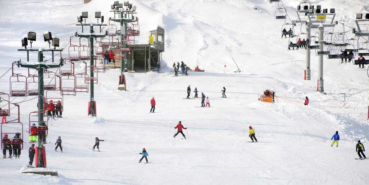 Skiers take to the slopes as West Mountain Ski Area opens for the season Saturday Dec. 16, 2017 in Queensbury, NY. (John Carl D'Annibale / Times Union)