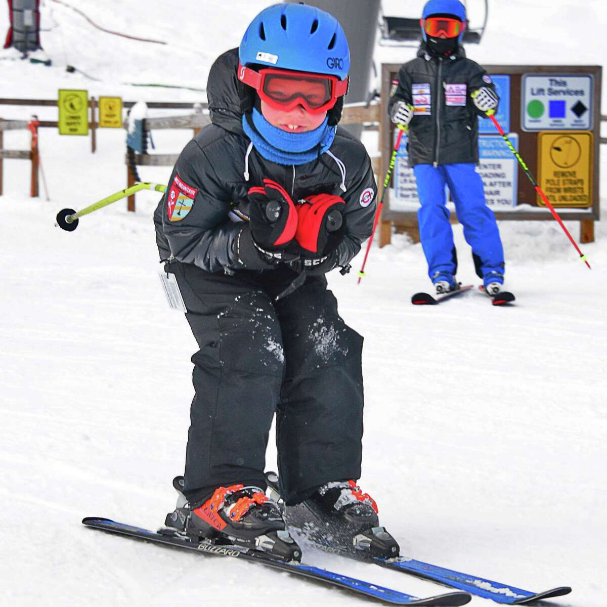 Eight-year-old Rory Byrne of Saratoga Springs finishes a run as West Mountain Ski Area opens for the season Saturday Dec. 16, 2017 in Queensbury, NY. (John Carl D'Annibale / Times Union)