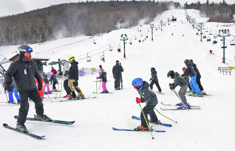 Skiers take to the slopes as West Mountain Ski Area opens for the season Saturday Dec. 16, 2017 in Queensbury, NY.  (John Carl D'Annibale / Times Union) Photo: John Carl D'Annibale / 20042433A