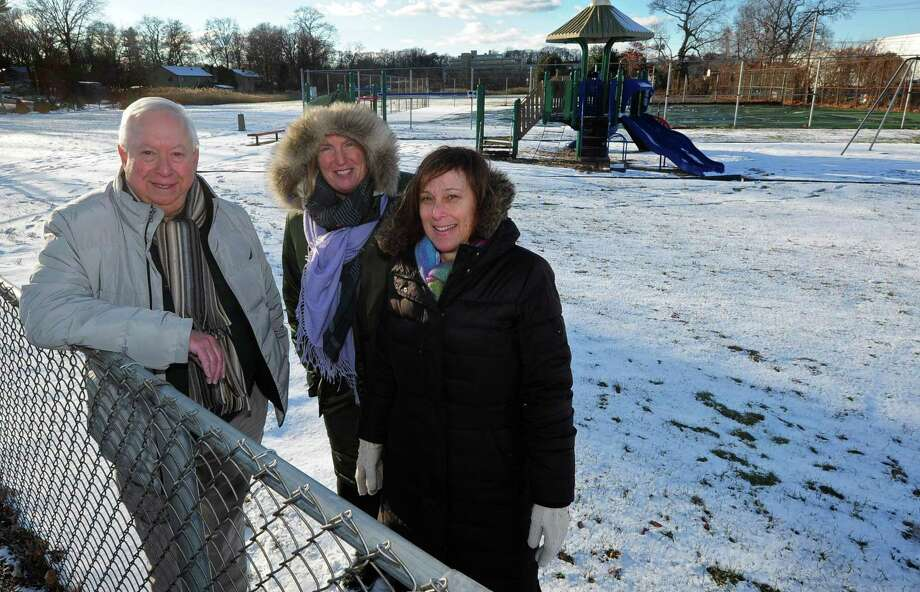 Neighborhood activists Andrew Strauss, Ernie Grevers and Laurie Mirra from South Norwalk and Village Creek describe their plan to beautify Woodward Avenue Park Thursday, December 14, 2017, at the park in Norwalk, Conn. The completed improvements include the addition of new trees and shrubs including dogwoods, lilacs, honey locust, mountain laurel, holly and inkberry, but have not yet received any grants or Recreation and Parks budget to help execute the rest of their plan. Photo: Erik Trautmann / Hearst Connecticut Media / Norwalk Hour