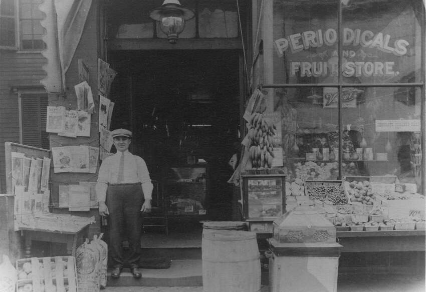 Matteo Carrano at his market, early 1900s.