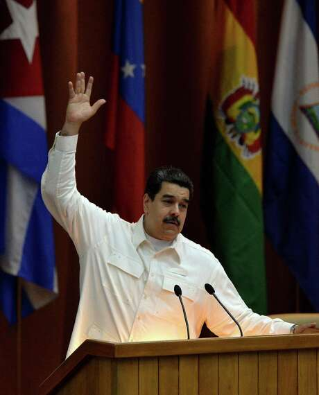 Venezuelan President Nicolas Maduro speaks at the closing ceremony of the XVI Political Council of the Bolivarian Alliance for the People of Our Americas (ALBA) at the Convention Palace in Havana, on Dec. 14, 2017. (AFP/Getty Images) Photo: YAMIL LAGE, Contributor / AFP or licensors