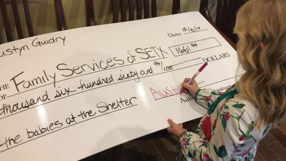 "Nederland 6-year-old Austyn Guidry made a big donation ""to the babies"" after saving up for over a year. Photo: Andrea Guidry"