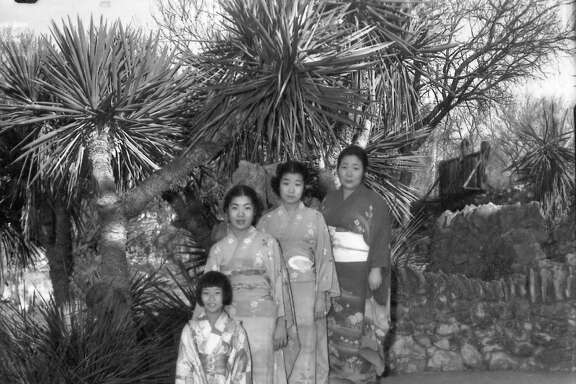 The Jingu family — Kimi Jr. (left), Lillian, Rae, Ruth and their mother, Miyoshi — wear traditional dress. The Jingus served as live-in caretakers of the Japanese Tea Garden in Brackenridge Park. Shown here in 1937, the Jingus spent more than 20 years tending the gardens and operating a popular restaurant there before losing the lease on the city property in 1942.