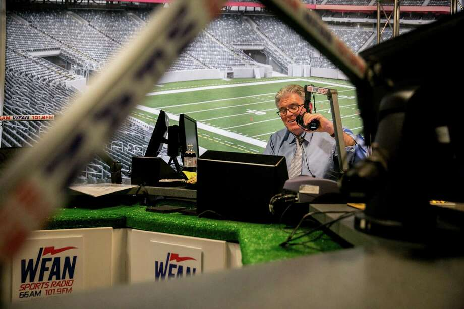 Mike Francesa, the longtime New York sports talk radio host, on one of his final days on the air at WFAN in Manhattan. Photo: Sam Hodgson / New York Times / NYTNS