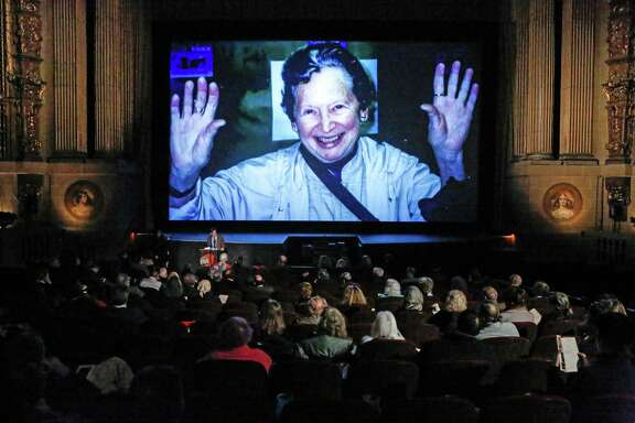 Judy Stone's nephew Peter Stone speaks at the memorial held for her at the Castro Theatre in San Francisco.