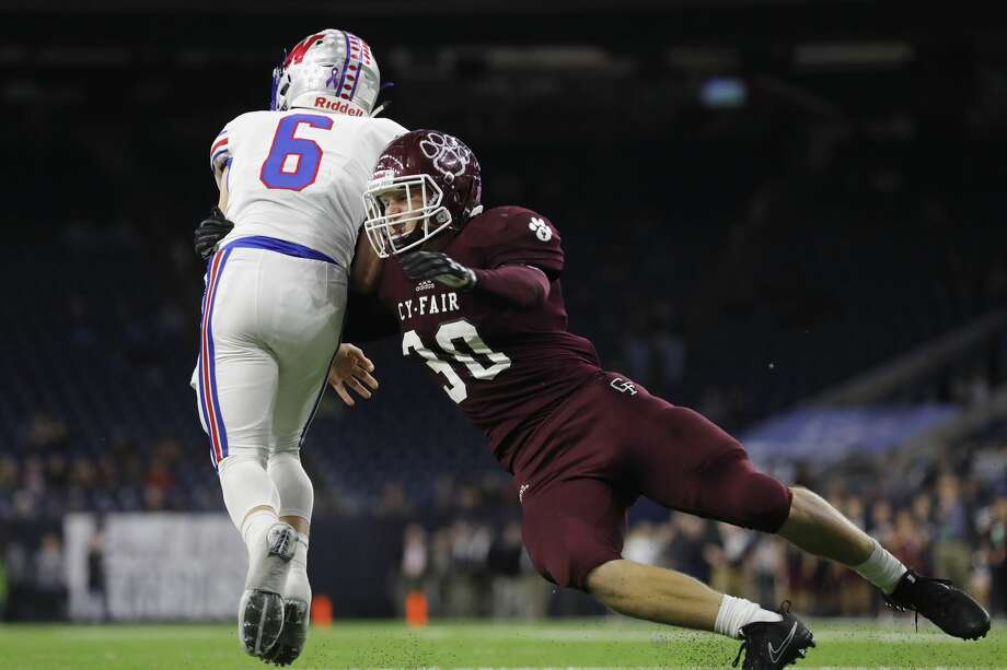 Cy-Fair linebacker Patrick Atkinson (30) was named Defensive MVP of District 17-6A. Photo: Tim Warner/For The Chronicle