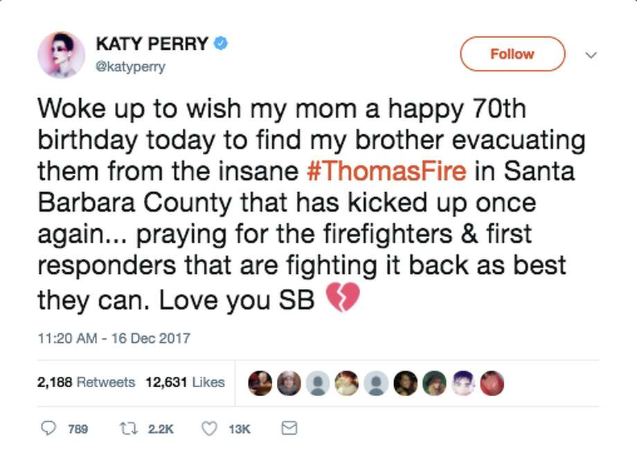 Celebrities took to social media to voice their feelings as the Thomas Fire spread through Southern California. Photo: Screenshot Via Twitter