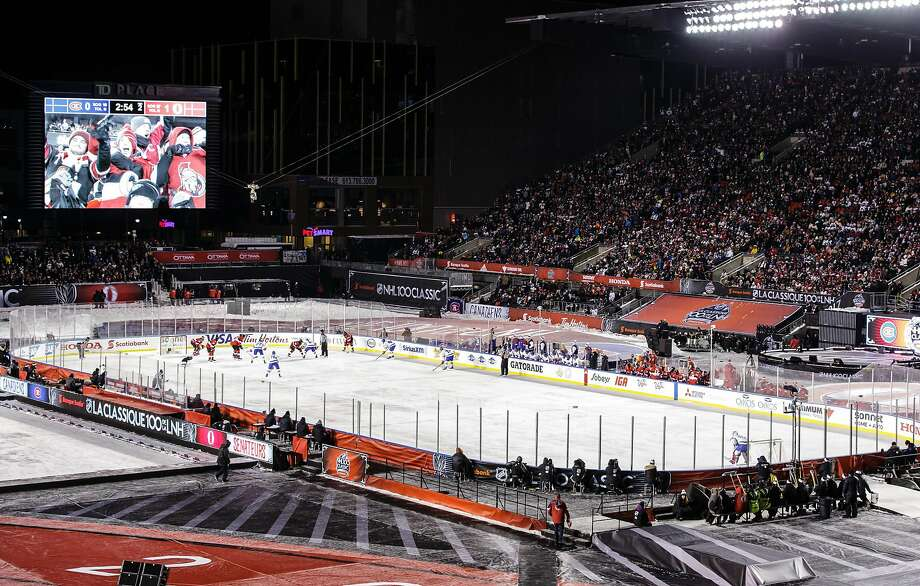 The Ottawa Senators hosted the Montreal Canadiens at Lansdowne Park on Saturday to celebrate the 100th birthday of the NHL. The Senators won 3-0. Photo: Jana Chytilova/Freestyle Photo, Getty Images