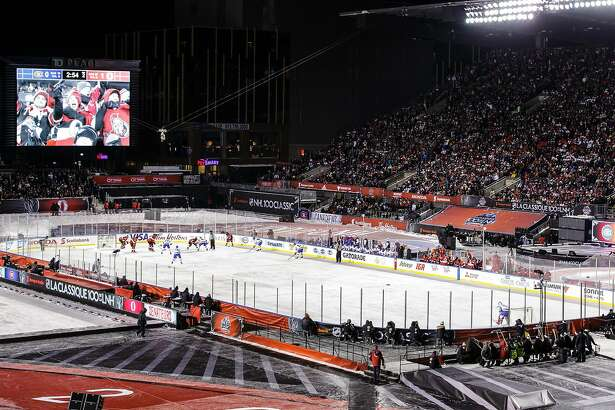 OTTAWA, ON - DECEMBER 16: General view of the Ottawa Senators playing against the Montreal Canadiens during the of the 2017 Scotiabank NHL100 Classic at Lansdowne Park on December 16, 2017 in Ottawa, Canada.  (Photo by Jana Chytilova/Getty Images/Freestyle Photo)