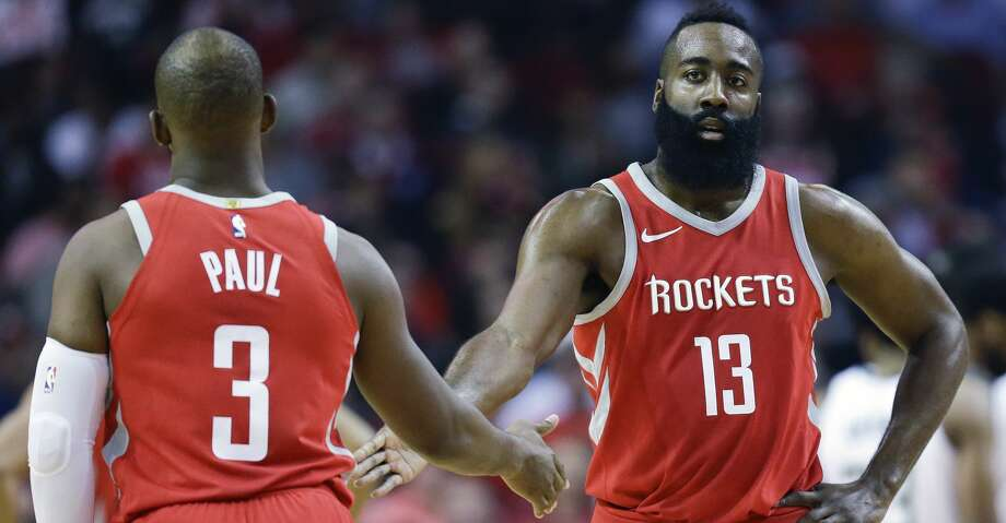 PHOTOS: A look at the Rockets' 13th straight victoryHouston Rockets guard James Harden (13) shakes hands with Chris Paul after a foul during the first half of an NBA basketball game against the Milwaukee Bucks, Saturday, Dec. 16, 2017, in Houston. (AP Photo/Eric Christian Smith) Photo: Eric Christian Smith/Associated Press
