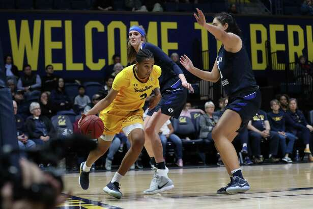 Mikayla Cowling (#3) of the California Golden Bears drives baseline during a NCAA women's basketball game against BYU Cougars on Saturday Dec. 16, 2017 at Haas Pavilion in Berkeley, Calif.