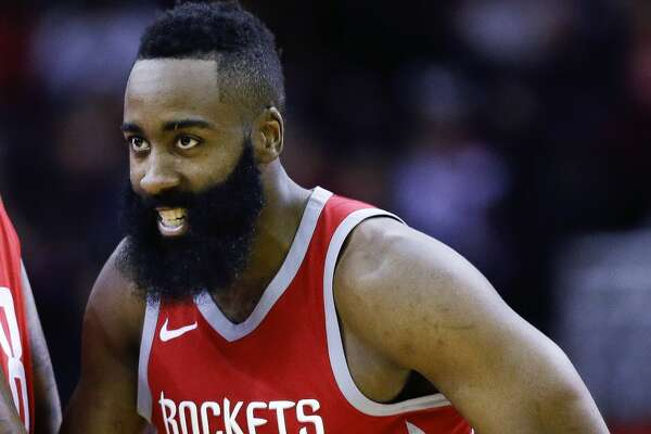 Houston Rockets guard James Harden reacts after making a 3-pointer during the second half of an NBA basketball game against the Milwaukee Bucks, Saturday, Dec. 16, 2017, in Houston. Houston won the game 115-111. (AP Photo/Eric Christian Smith)