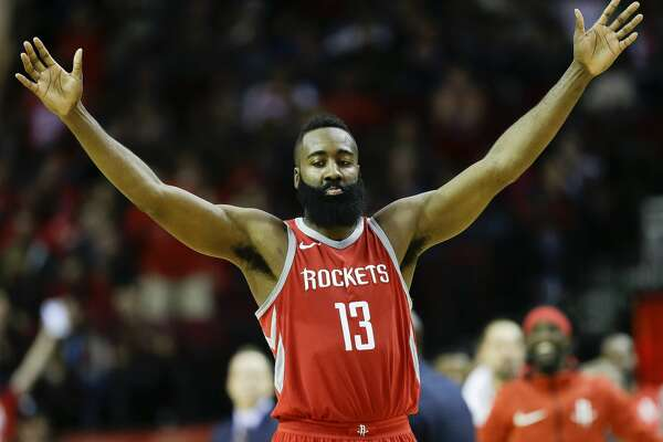 2of22Houston Rockets guard James Harden reacts after a 3-pointer by Chris  Paul during the second half of an NBA basketball game cf4ff755d