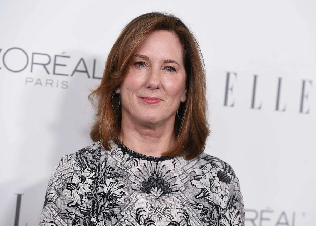 FILE - In this Oct. 16, 2017 file photo, Kathleen Kennedy arrives at the 24th annual ELLE Women in Hollywood Awards at the Four Seasons Hotel Beverly Hills, in Los Angeles. Hollywood executives and other major players in entertainment have established a commission to be chaired by Anita Hill that intends to combat sexual misconduct and gender inequities across the industry. The group grew out of a meeting called by