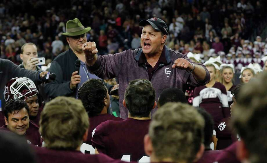 Cy-Fair Bobcats head coach Ed Pustejovsky addresses the team after the high school football semifinal playoff playoff game between the Austin Westlake Chaparrals and the Cy-Fair Bobcats at NRG Stadium in Houston, TX on Saturday, December 16, 2017. Photo: Tim Warner, Freelance / Houston Chronicle